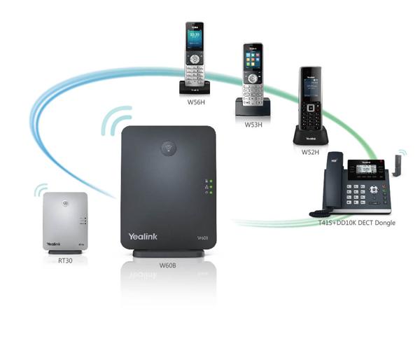 Giải pháp kết nối điện thoại không day yealink W53P giữa trạm lặp với tay con điện thoại