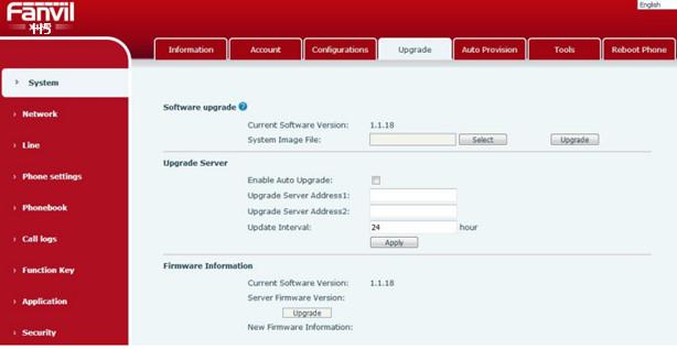 Upgrade Firmware cho điện thoại fanvil h5