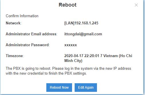 xác nhận IP cổng LAN & reboot tổng đài
