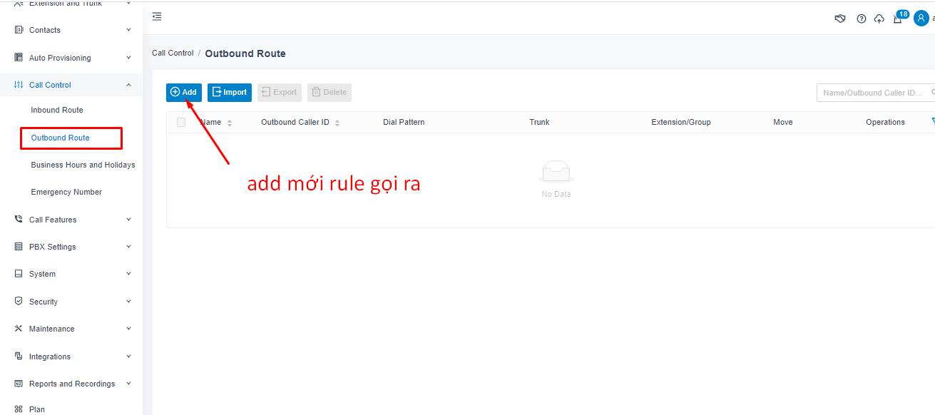 Add rule gọi ra